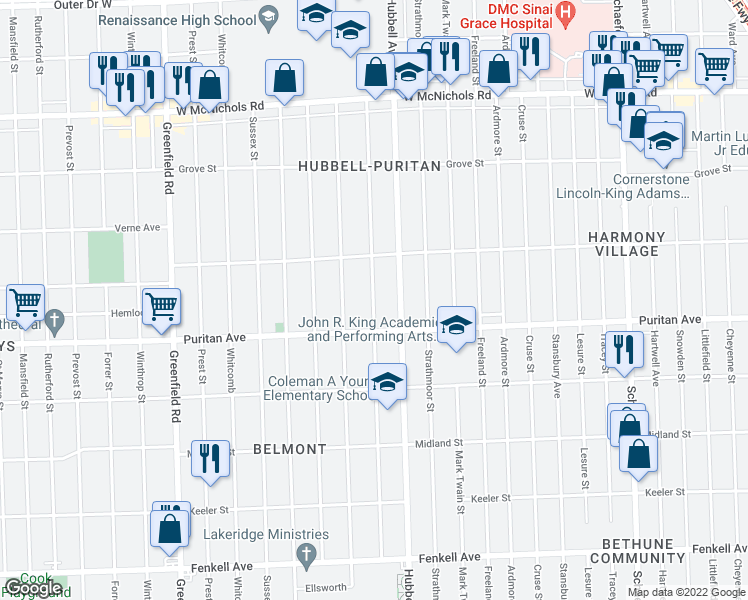 map of restaurants, bars, coffee shops, grocery stores, and more near 16126 Marlowe St in Detroit