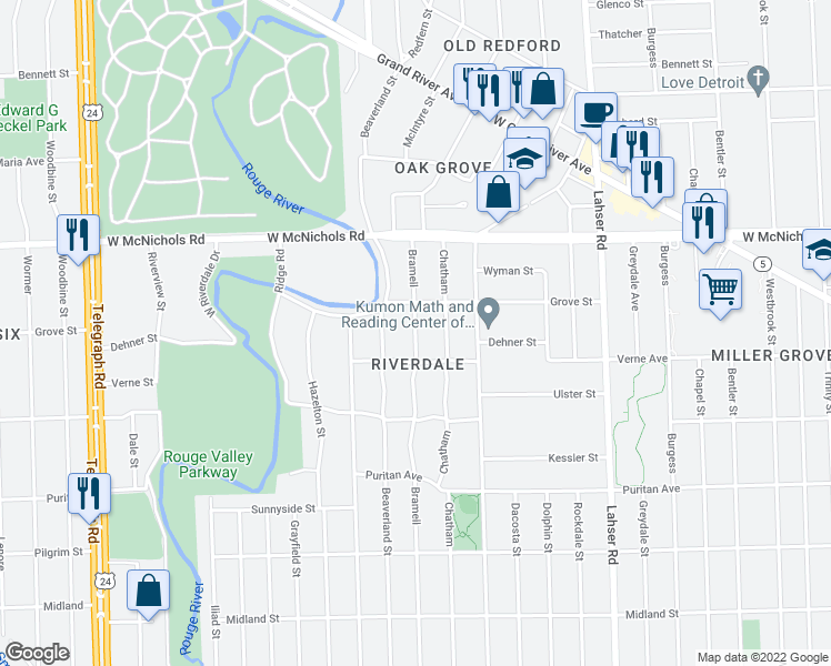 map of restaurants, bars, coffee shops, grocery stores, and more near Bramell Street in Detroit