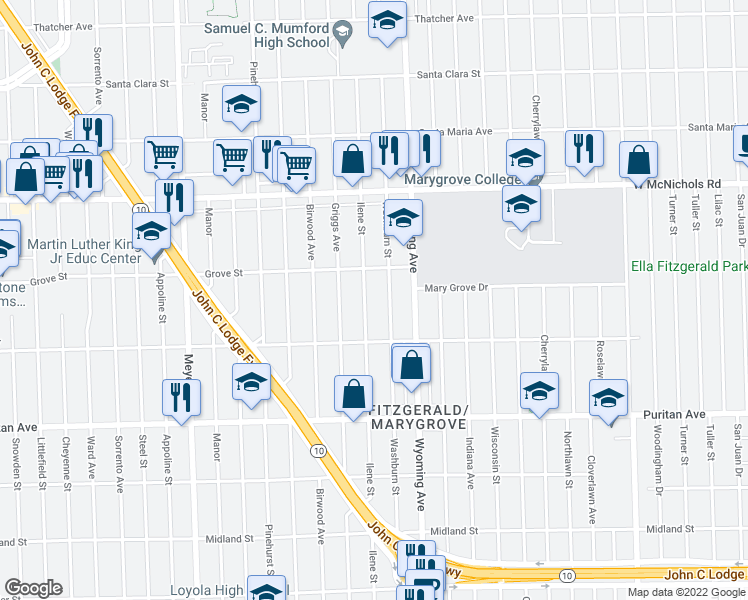 map of restaurants, bars, coffee shops, grocery stores, and more near 16590 Ilene Street in Detroit