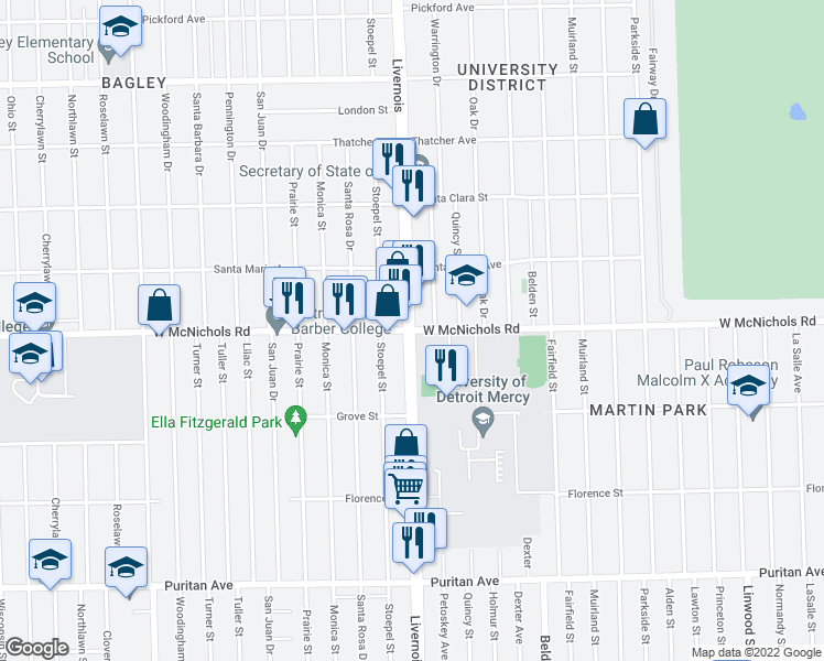 map of restaurants, bars, coffee shops, grocery stores, and more near Livernois Avenue & McNichols Road West in Detroit
