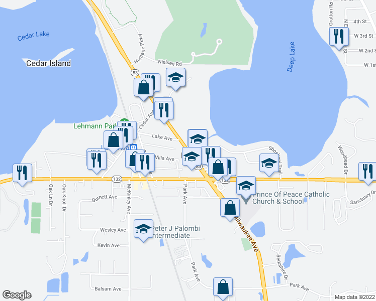 map of restaurants, bars, coffee shops, grocery stores, and more near 222 Villa Avenue in Lake Villa