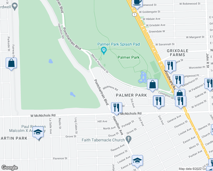 map of restaurants, bars, coffee shops, grocery stores, and more near 1000 Whitmore Rd in Highland Park