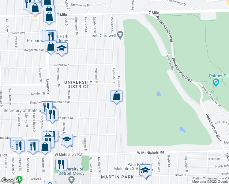 map of restaurants, bars, coffee shops, grocery stores, and more near Parkside Street in Detroit