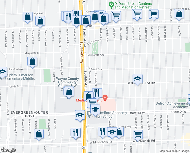 map of restaurants, bars, coffee shops, grocery stores, and more near 18255 Archdale Street in Detroit