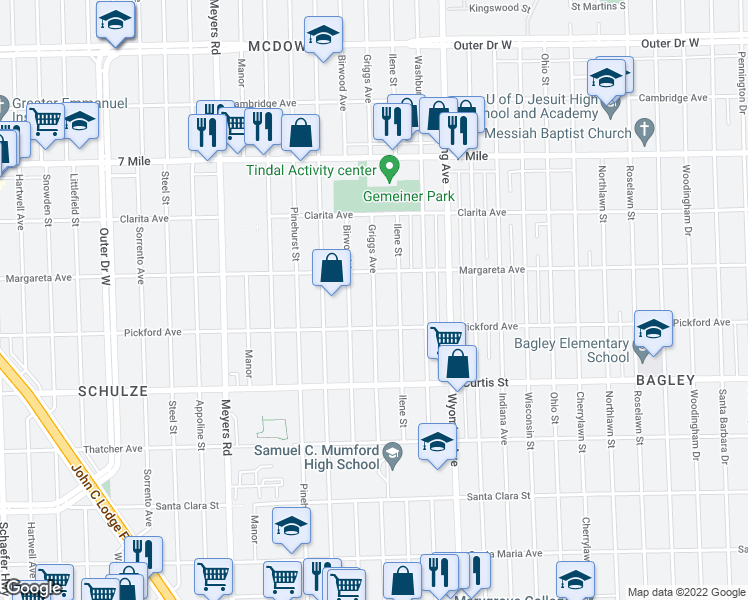 map of restaurants, bars, coffee shops, grocery stores, and more near Griggs Street in Detroit