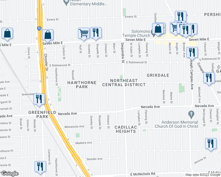 map of restaurants, bars, coffee shops, grocery stores, and more near 18176 Orleans Street in Detroit