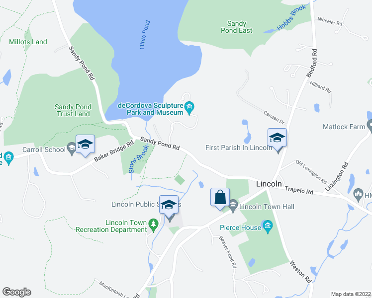 map of restaurants, bars, coffee shops, grocery stores, and more near 35 Sandy Pond