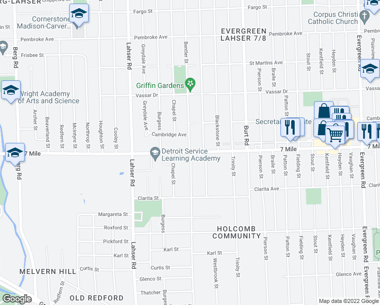 map of restaurants, bars, coffee shops, grocery stores, and more near W 7 Mile Rd in Detroit