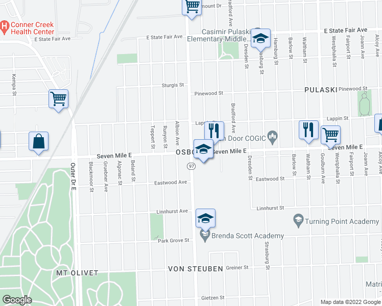 map of restaurants, bars, coffee shops, grocery stores, and more near Hoover St & E 7 Mile Rd in Detroit