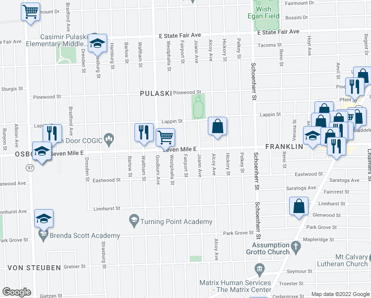 map of restaurants, bars, coffee shops, grocery stores, and more near Fairport Street in Detroit