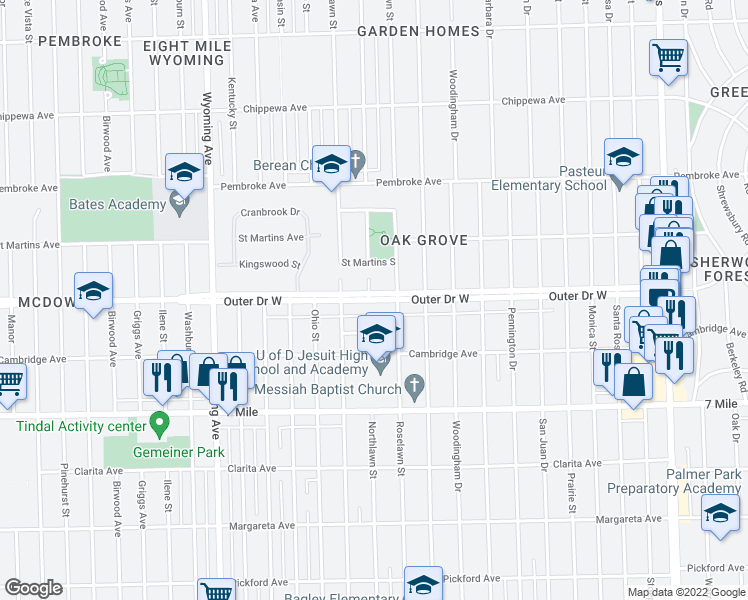 map of restaurants, bars, coffee shops, grocery stores, and more near in Detroit