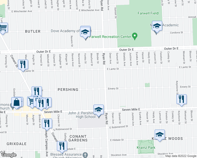 map of restaurants, bars, coffee shops, grocery stores, and more near Binder Street in Detroit