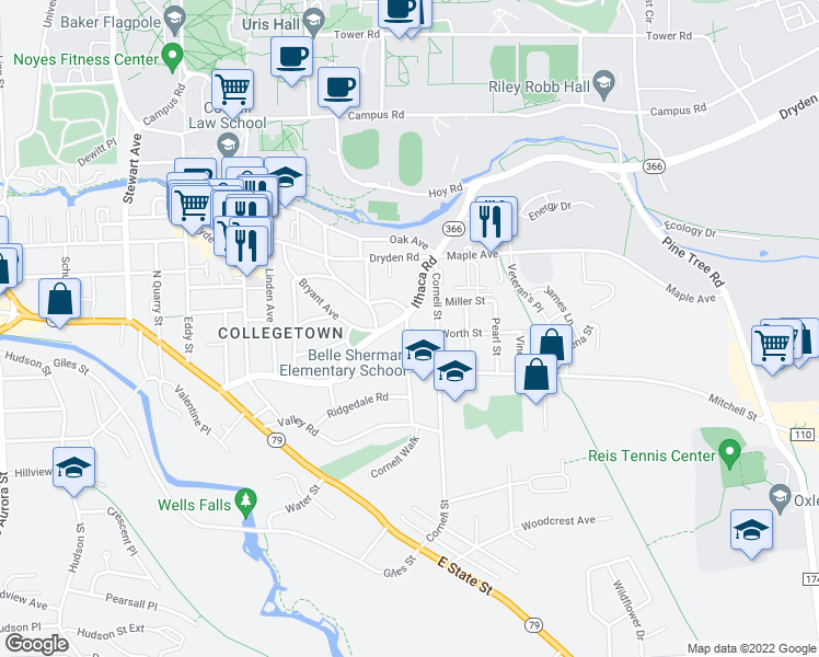map of restaurants, bars, coffee shops, grocery stores, and more near in Ithaca