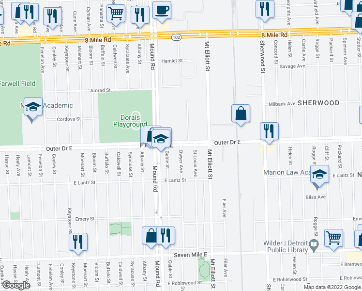 map of restaurants, bars, coffee shops, grocery stores, and more near Dwyer Street in Detroit