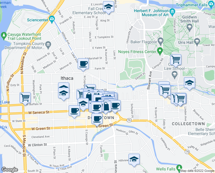 map of restaurants, bars, coffee shops, grocery stores, and more near 408 N Aurora St in Ithaca
