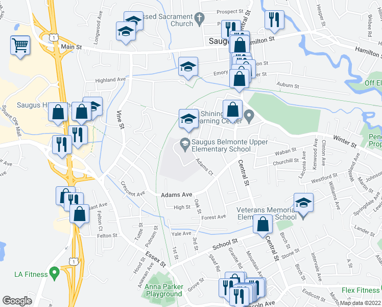 map of restaurants, bars, coffee shops, grocery stores, and more near 2 Adams Court in Saugus