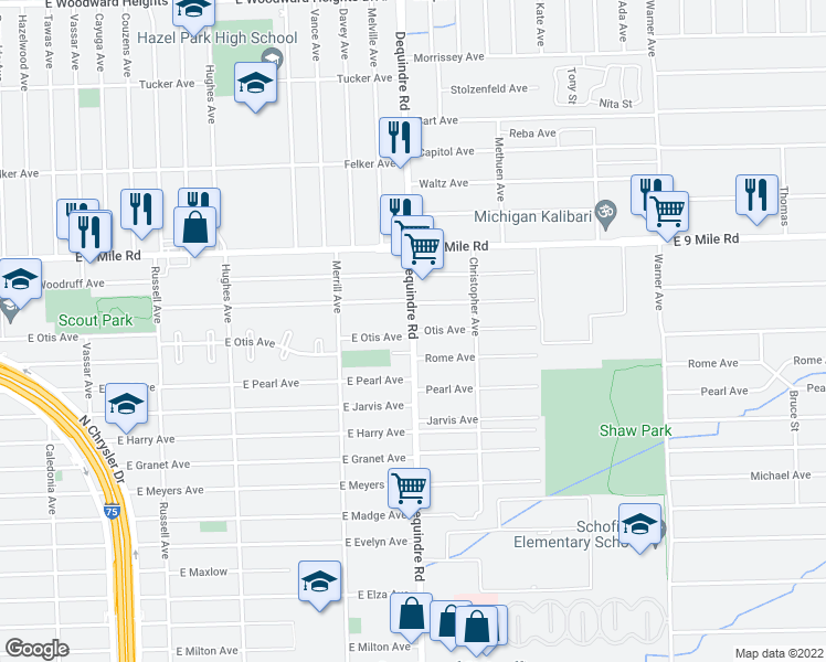 map of restaurants, bars, coffee shops, grocery stores, and more near Dequindre Rd & Otis Ave in Warren