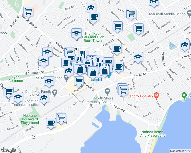 map of restaurants, bars, coffee shops, grocery stores, and more near Munroe St in Lynn