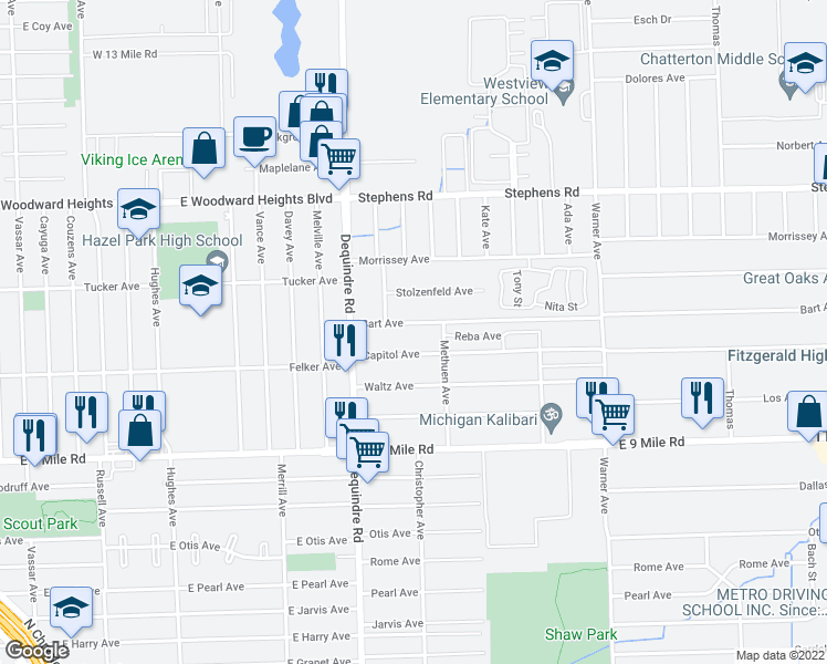 map of restaurants, bars, coffee shops, grocery stores, and more near 2013 Capitol Avenue in Warren