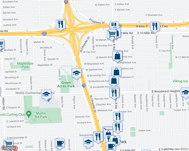 map of restaurants, bars, coffee shops, grocery stores, and more near West Browning Avenue in Hazel Park