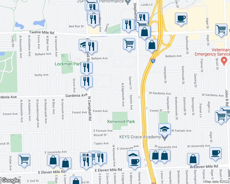 map of restaurants, bars, coffee shops, grocery stores, and more near Gardenia Ave & N Kenwood Ave in Royal Oak