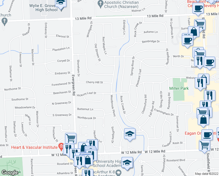 map of restaurants, bars, coffee shops, grocery stores, and more near 29935 Westbrook Pkwy in Southfield