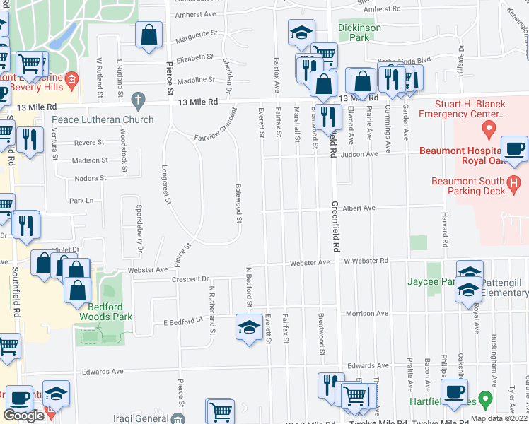 map of restaurants, bars, coffee shops, grocery stores, and more near Everett St & Albert Ave in Southfield