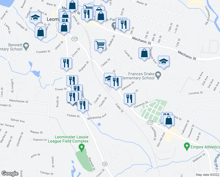 map of restaurants, bars, coffee shops, grocery stores, and more near 213 Lancaster St in Leominster