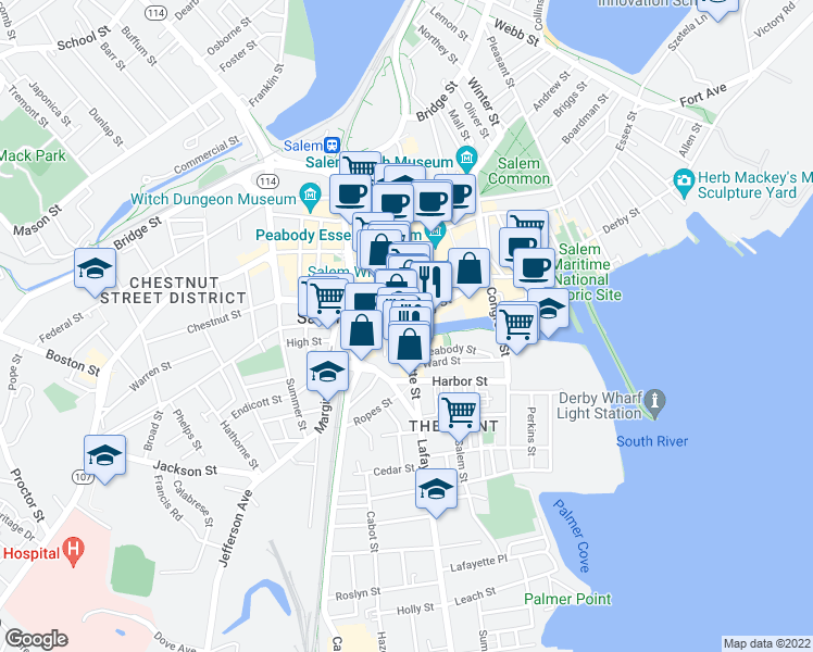 map of restaurants, bars, coffee shops, grocery stores, and more near 85-87 Lafayette Street in Salem
