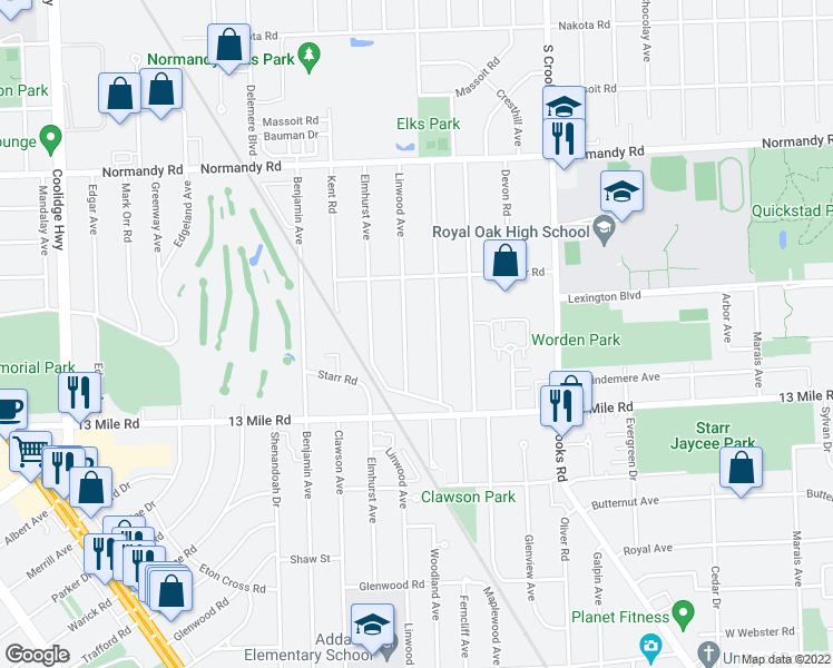 map of restaurants, bars, coffee shops, grocery stores, and more near 3526 Linwood Avenue in Royal Oak