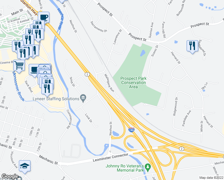 map of restaurants, bars, coffee shops, grocery stores, and more near Mahogany Run in Leominster