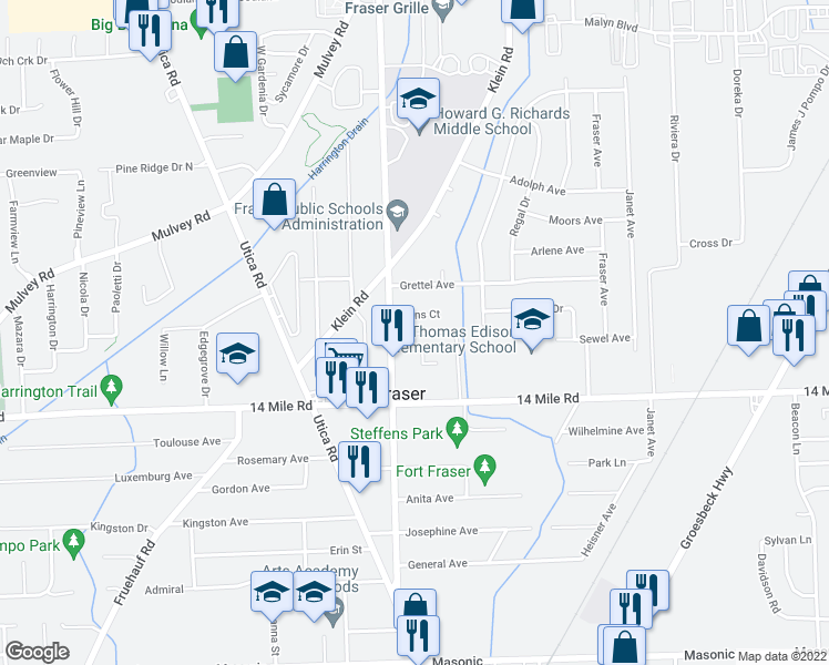 map of restaurants, bars, coffee shops, grocery stores, and more near 16865 Hans Ct in Fraser
