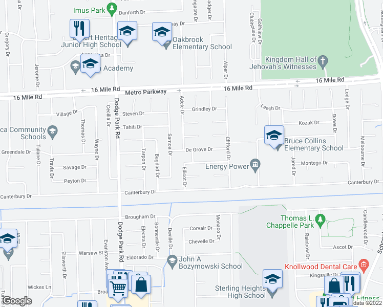 map of restaurants, bars, coffee shops, grocery stores, and more near in Sterling Heights
