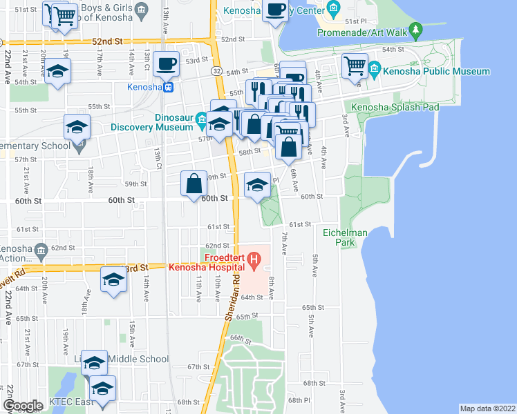 map of restaurants, bars, coffee shops, grocery stores, and more near 6008 8th Avenue in Kenosha