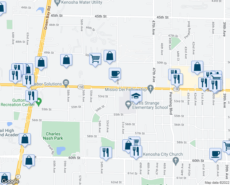 map of restaurants, bars, coffee shops, grocery stores, and more near 5215 52nd Ave in Kenosha