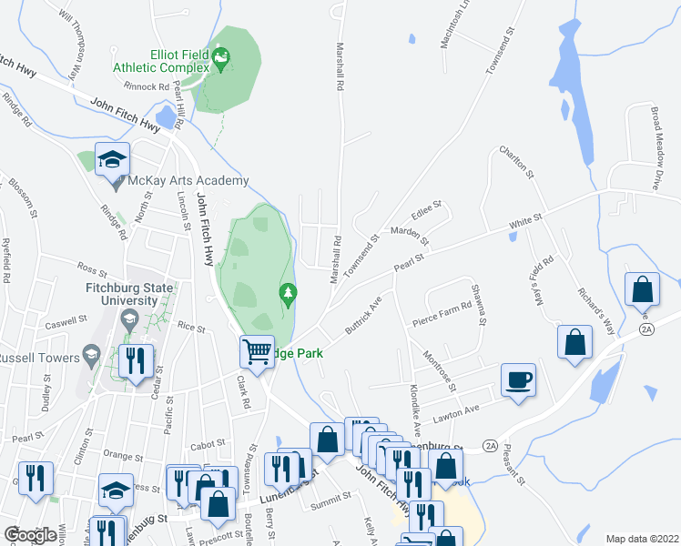 map of restaurants, bars, coffee shops, grocery stores, and more near 23 Marshall Rd in Fitchburg
