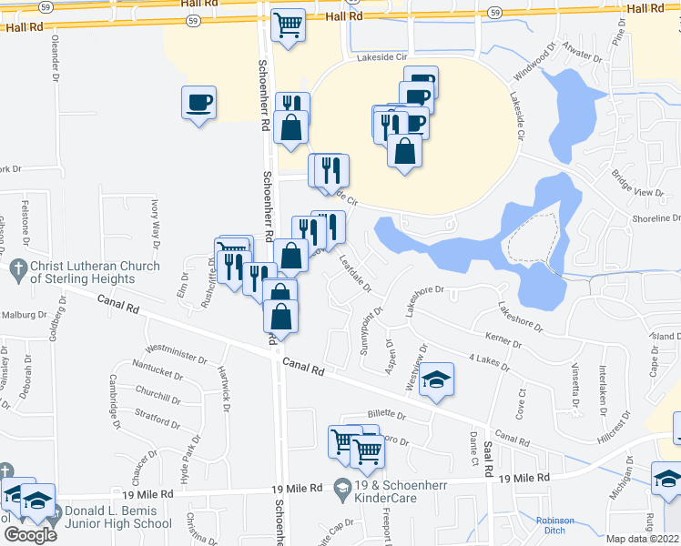 map of restaurants, bars, coffee shops, grocery stores, and more near 13898-13970 Leafdale Drive in Sterling Heights