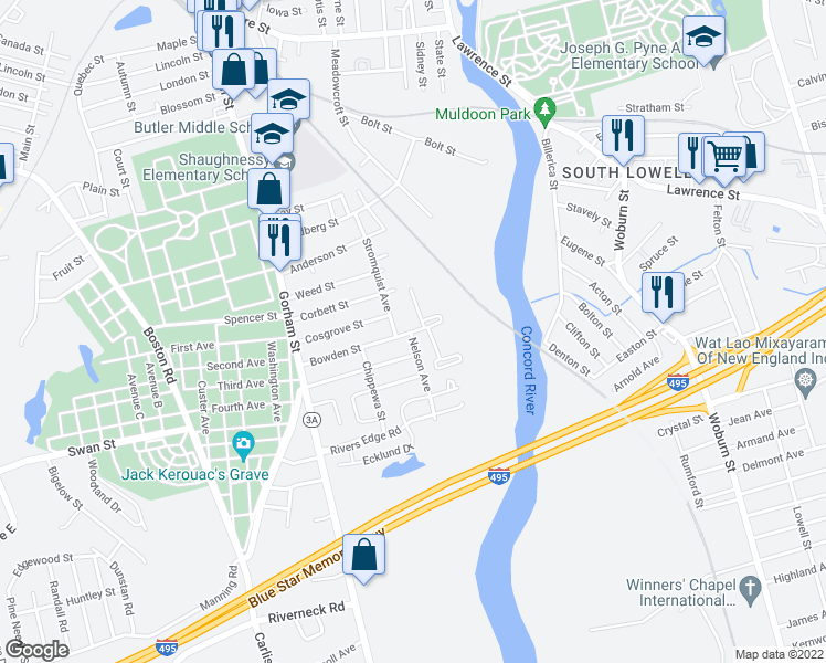 map of restaurants, bars, coffee shops, grocery stores, and more near 199 Bowden Street in Lowell