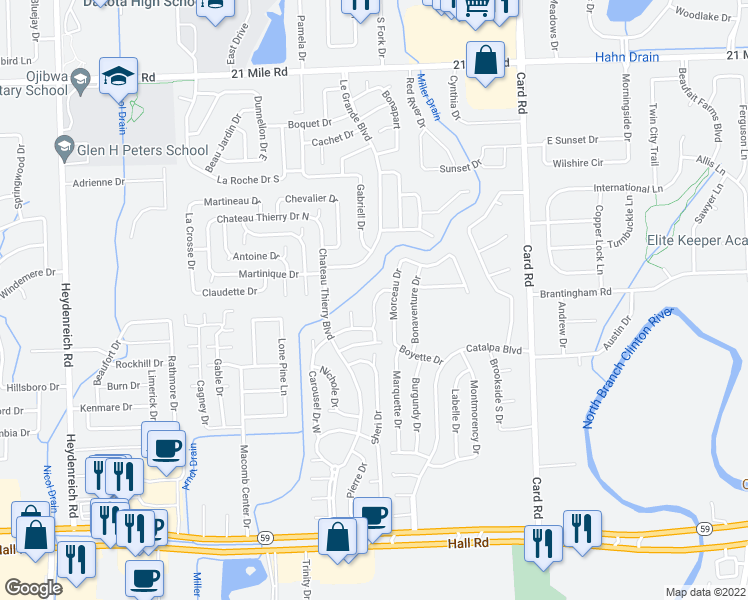 map of restaurants, bars, coffee shops, grocery stores, and more near 45899 La Prairie Circle in Macomb