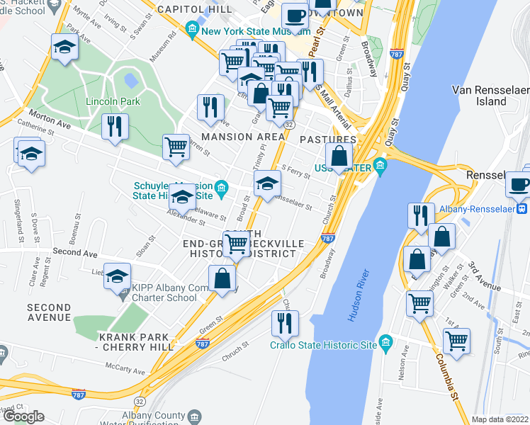 map of restaurants, bars, coffee shops, grocery stores, and more near 31 Schuyler Street in Albany