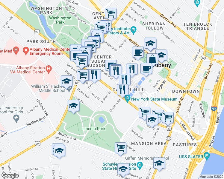 map of restaurants, bars, coffee shops, grocery stores, and more near Madison Avenue in Albany