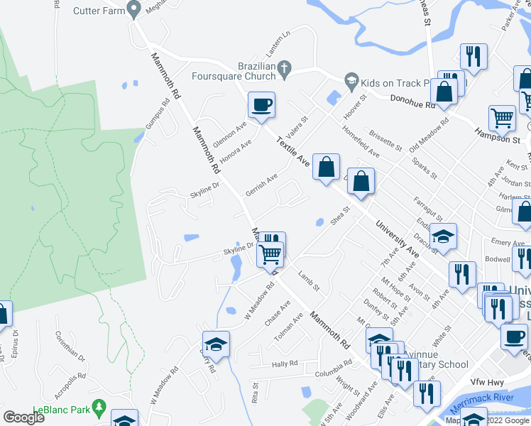 map of restaurants, bars, coffee shops, grocery stores, and more near 100-320 Merrill Lane in Dracut