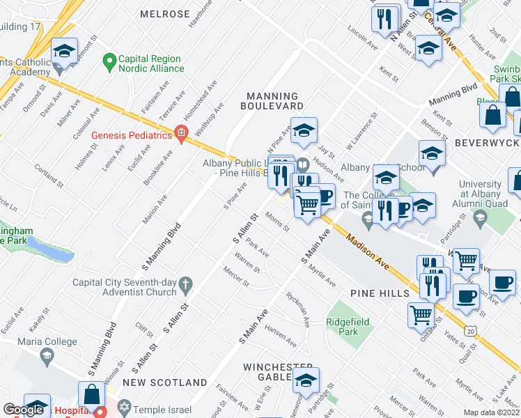 map of restaurants, bars, coffee shops, grocery stores, and more near S Allen St & Morris St in Albany