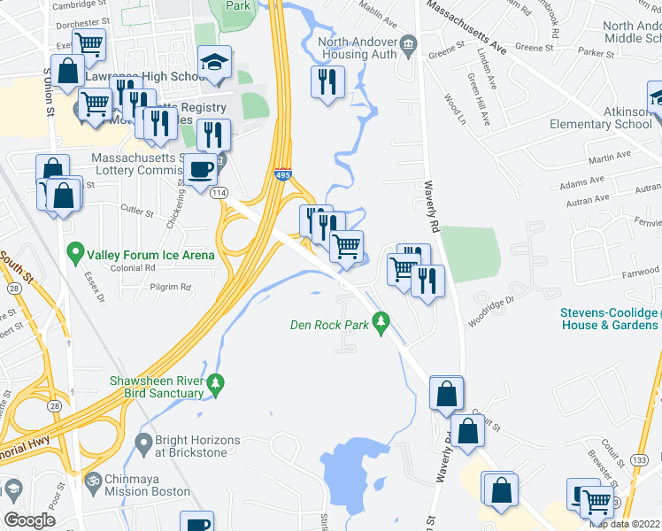 map of restaurants, bars, coffee shops, grocery stores, and more near 230 Winthrop Avenue in North Andover