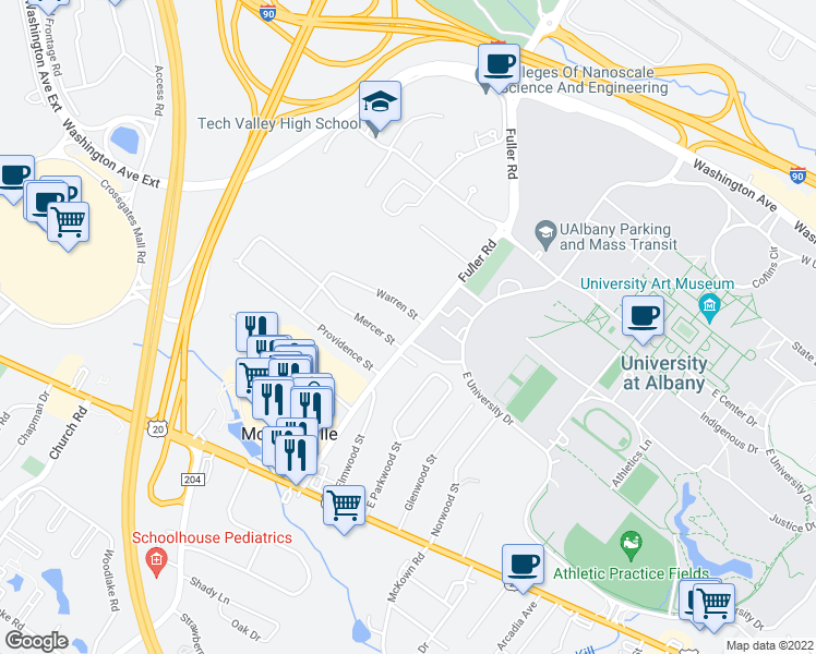 map of restaurants, bars, coffee shops, grocery stores, and more near 311 Fuller Rd in Albany
