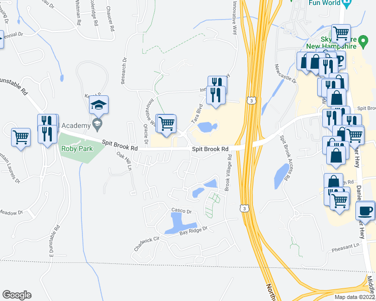 map of restaurants, bars, coffee shops, grocery stores, and more near 105 Spit Brook Road in Nashua