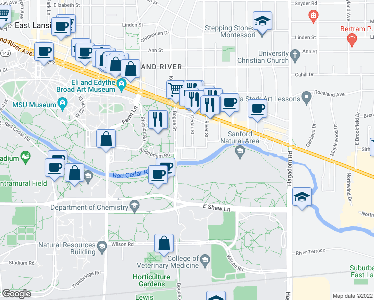 map of restaurants, bars, coffee shops, grocery stores, and more near 1000 Village Drive in East Lansing