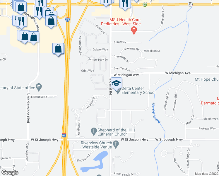 map of restaurants, bars, coffee shops, grocery stores, and more near 7607 Briarbrook Dr in Lansing Charter Township