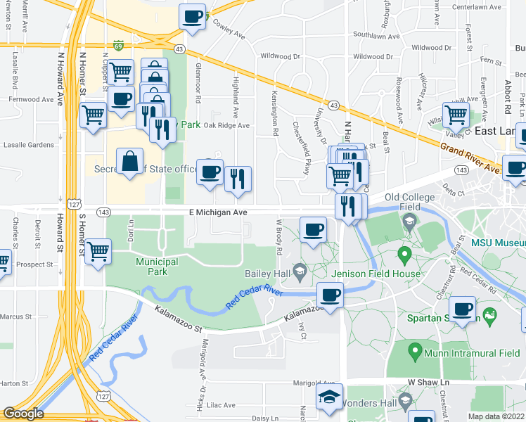 map of restaurants, bars, coffee shops, grocery stores, and more near 1100-1116 Michigan Ave in East Lansing