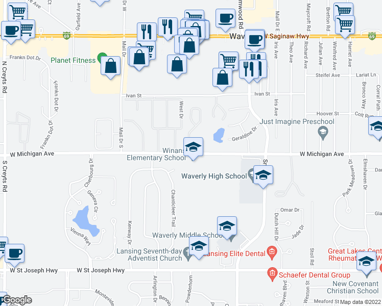 map of restaurants, bars, coffee shops, grocery stores, and more near 5503-5519 West Michigan Avenue in Lansing